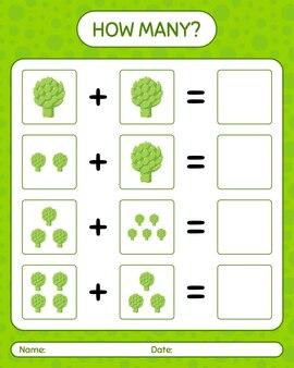アーティチョークを使ったカウントゲームの数。就学前の子供のためのワークシート、子供向けアクティビティシート、印刷可能なワークシート