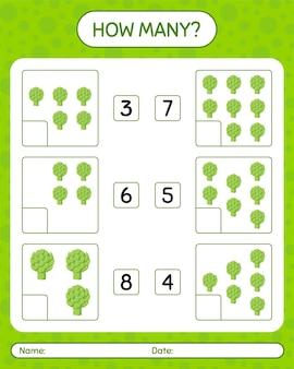 アーティチョークを使ったカウントゲームの数。就学前の子供のためのワークシート、子供の活動シート