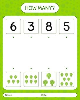 アーティチョークを使ったカウントゲームの数。就学前の子供のためのワークシート