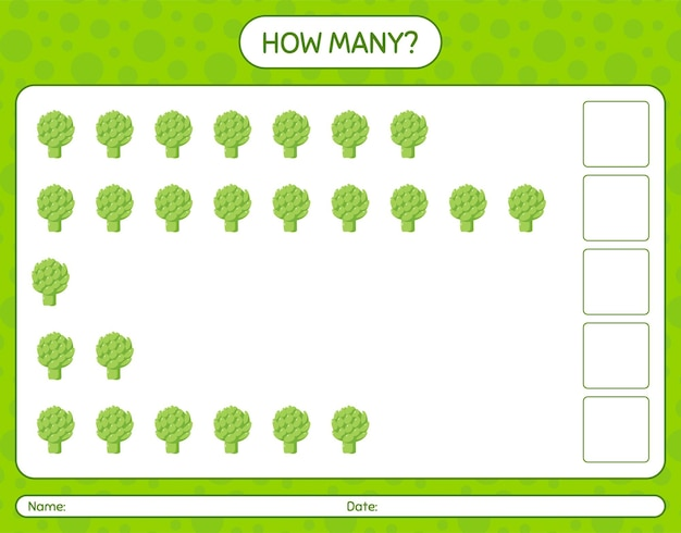 How many counting game with artichoke. worksheet for preschool kids, kids activity sheet, printable worksheet