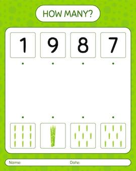 アスパラガスを使ったカウントゲームの数。就学前の子供のためのワークシート