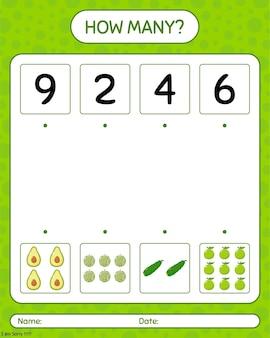 アボカド、マスクメロン、ウチワサボテンを使ったカウントゲームの数。就学前の子供のためのワークシート