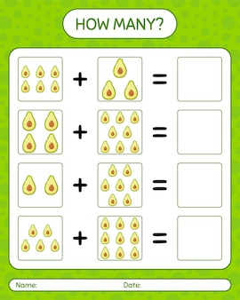How many counting game with avocado. worksheet for preschool kids, kids activity sheet, printable worksheet