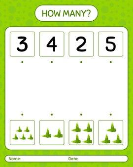 タケノコを使ったカウントゲームの数。就学前の子供のためのワークシート
