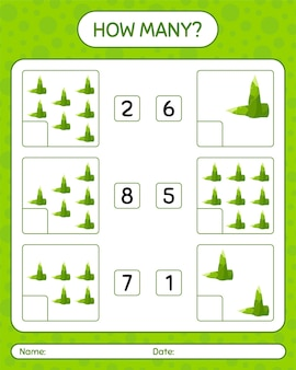 How many counting game with bamboo shoot. worksheet for preschool kids, kids activity sheet, printab