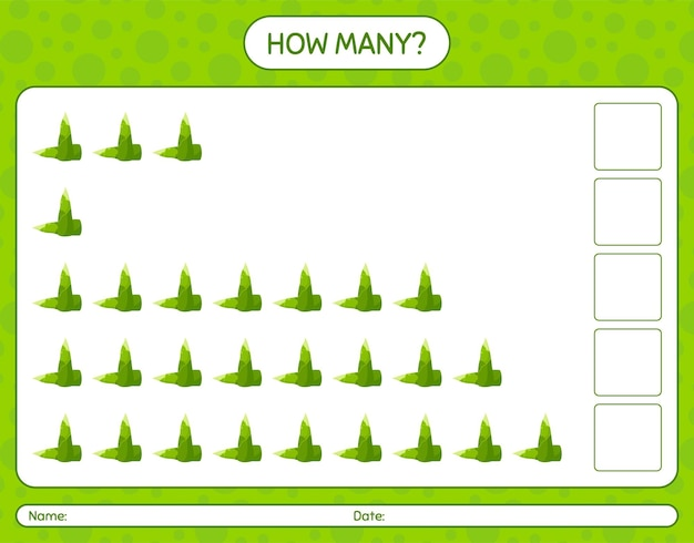 How many counting game with bamboo shoot. worksheet for preschool kids, kids activity sheet, printable worksheet