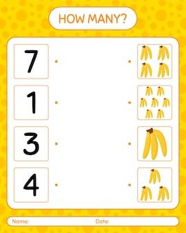 バナナを使ったカウントゲームの数。就学前の子供のためのワークシート、子供向けアクティビティシート、印刷可能なワークシート