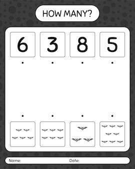 コウモリとのカウントゲームの数。就学前の子供のためのワークシート、子供の活動シート
