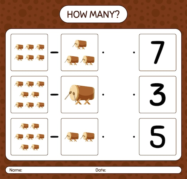 How many counting game with bedug drum. worksheet for preschool kids