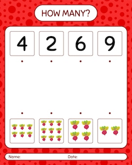 ビートルートを使ったカウントゲームの数。就学前の子供のためのワークシート