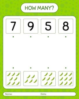 ゴーヤを使ったカウントゲームの数。就学前の子供のためのワークシート