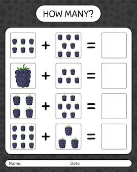 ブラックベリーを使ったカウントゲームの数。就学前の子供のためのワークシート、子供向けアクティビティシート、印刷可能なワークシート