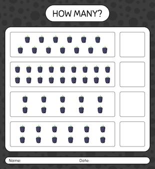 미취학 아동을위한 블랙 베리 워크 시트, 어린이 활동 시트, 인쇄 가능한 워크 시트가있는 계산 게임 수