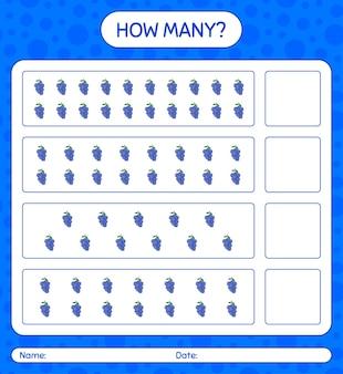 미취학 아동을위한 블루 베리 워크 시트, 어린이 활동 시트, 인쇄 가능한 워크 시트가있는 계산 게임 수