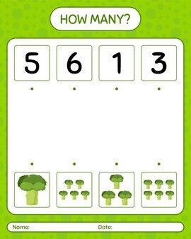 ブロッコリーを使ったカウントゲームの数。就学前の子供のためのワークシート