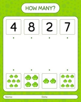 キャベツを使ったカウントゲームの数。就学前の子供のためのワークシート