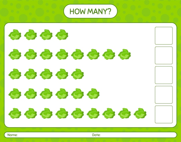 How many counting game with cabbage. worksheet for preschool kids, kids activity sheet, printable worksheet