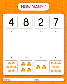 キャンディコーンを使ったカウントゲームの数。就学前の子供のためのワークシート、子供の活動シート