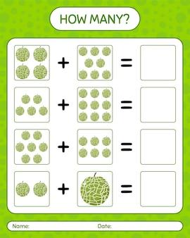 マスクメロンを使ったカウントゲームの数。就学前の子供のためのワークシート、子供向けアクティビティシート、印刷可能なワークシート