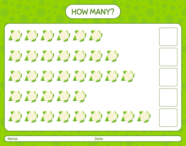 How many counting game with cauliflower. worksheet for preschool kids, kids activity sheet, printable worksheet