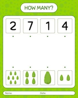 ハヤトウリを使ったカウントゲームの数。就学前の子供のためのワークシート、子供の活動シート