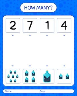 化学チューブを使ったカウントゲームの数。就学前の子供のためのワークシート、子供の活動シート