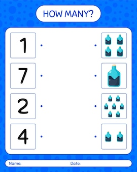 How many counting game with chemistry tube. worksheet for preschool kids, kids activity sheet