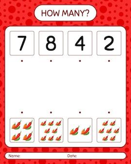 唐辛子を使ったカウントゲームの数。就学前の子供のためのワークシート