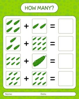 きゅうりを使った数え上げゲームの数。就学前の子供のためのワークシート、子供向けアクティビティシート、印刷可能なワークシート