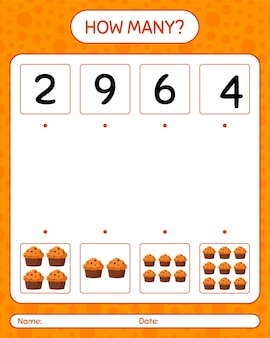 カップケーキを使ったカウントゲームの数。就学前の子供のためのワークシート、子供の活動シート