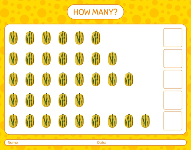 How many counting game with delicata squash. worksheet for preschool kids, kids activity sheet, printable worksheet
