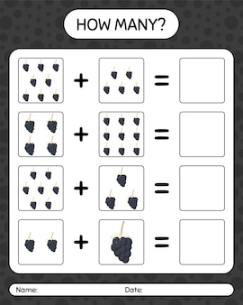 デューベリーを使ったカウントゲームの数。就学前の子供のためのワークシート、子供向けアクティビティシート、印刷可能なワークシート
