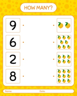 미취학 아동을위한 eggfruit 워크 시트, 어린이 활동 시트, 인쇄 가능한 워크 시트가있는 몇 개의 계산 게임