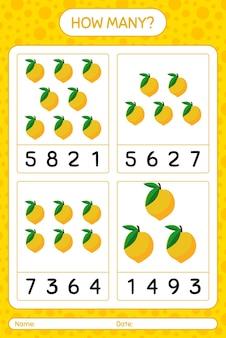 Сколько счетная игра с листом яичных фруктов для детей дошкольного возраста, лист активности детей, лист для печати