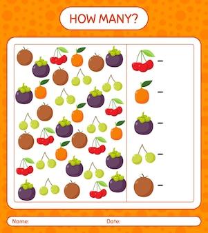 果物を使ったカウントゲームの数。就学前の子供のためのワークシート、子供向けアクティビティシート、印刷可能なワークシート
