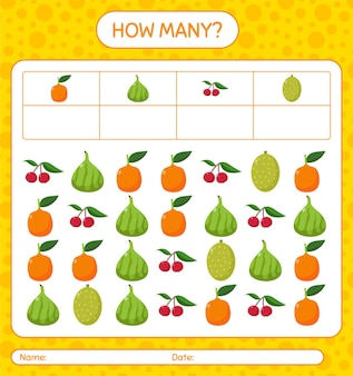 Сколько счетная игра с фруктами. рабочий лист для детей дошкольного возраста, лист активности детей, рабочий лист для печати