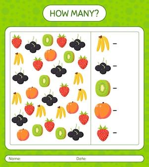 果物を使ったカウントゲームの数。就学前の子供のためのワークシート