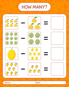 How many counting game with fruit. worksheet for preschool kids, kids activity sheet, printable worksheet Premium Vector