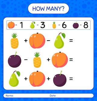 How many counting game with fruit. worksheet for preschool kids, kids activity sheet, printable worksheet