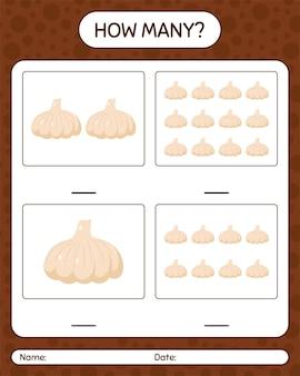 にんにくを使ったカウントゲームの数。就学前の子供のためのワークシート、子供向けアクティビティシート、印刷可能なワークシート
