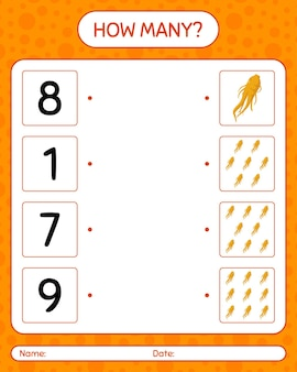How many counting game with ginseng. worksheet for preschool kids, kids activity sheet, printable worksheet