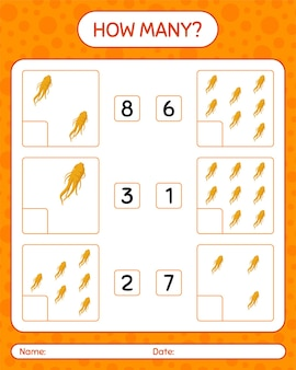 How many counting game with ginseng. worksheet for preschool kids, kids activity sheet