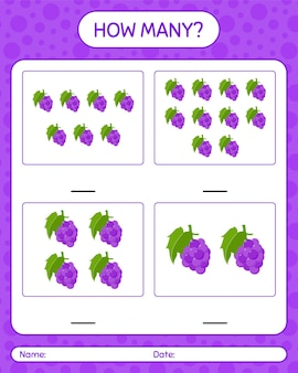 How many counting game with grape worksheet for preschool kids, kids activity sheet, printable worksheet