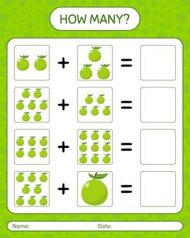 グアバを使ったカウントゲームの数。就学前の子供のためのワークシート、子供向けアクティビティシート、印刷可能なワークシート
