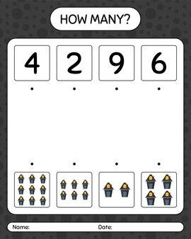 家とのカウントゲームの数。就学前の子供のためのワークシート、子供の活動シート