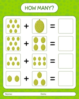 How many counting game with jack fruit. worksheet for preschool kids, kids activity sheet, printable worksheet