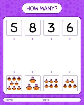 ジャック・オー・ランタンを使ったカウントゲームの数。就学前の子供のためのワークシート、子供の活動シート