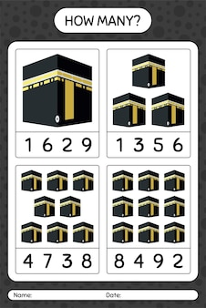 Kaaba와 얼마나 많은 계산 게임. 미취학 아동을위한 워크 시트, 아동 활동 시트, 인쇄 가능한 워크 시트