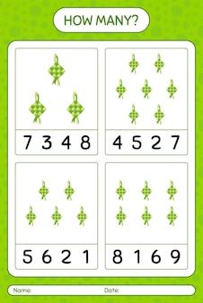 Ketupat로 얼마나 많은 계산 게임. 미취학 아동을위한 워크 시트, 아동 활동 시트, 인쇄 가능한 워크 시트