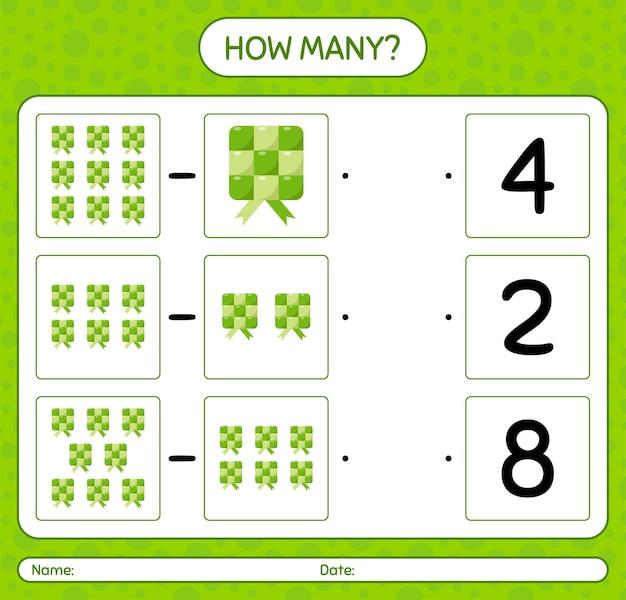 Ketupatを使ったカウントゲームの数。就学前の子供のためのワークシート